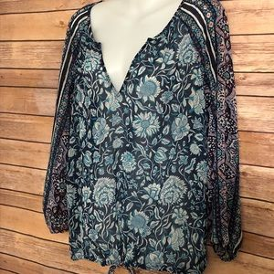 Lucky Brand sheer print blouse